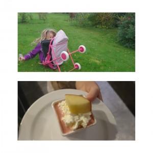 Fjol med mad og barnevogn