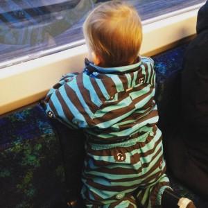 På vej ind til København i tog.