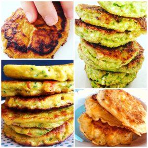 majspandekager, pandekager med sød kartoffel, ærtepandekager, grøntsagspandekager, BLW, babymad, tumlingemad, frokost